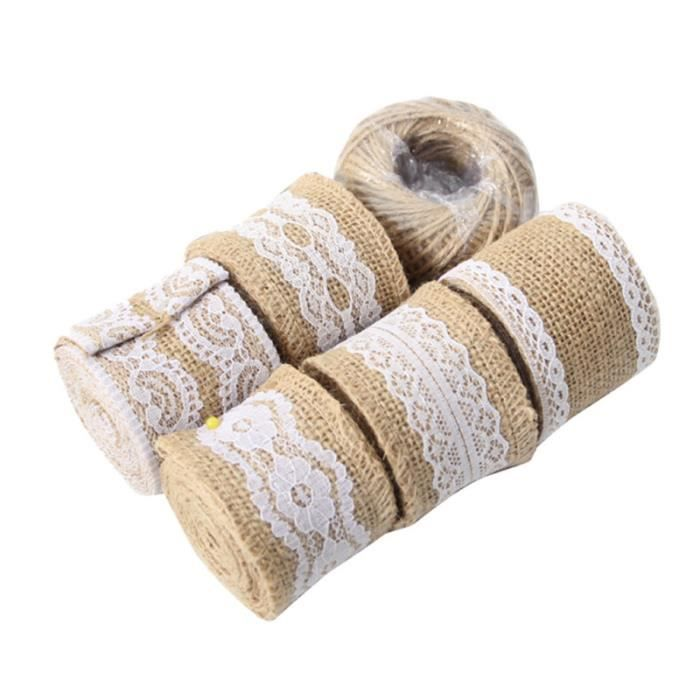 1 ensemble de dentelle tresse bricolage rouleau de linge de mariage de de mariée Bouquet décoration ruban d'emballage pour cadeau