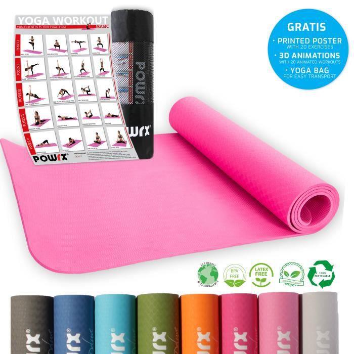 Tapis de yoga différentes couleurs, y compris la séance d'entraînement I tapis de gymnastique TPE 173 x 61 x 0,5 cm Couleur: Violet