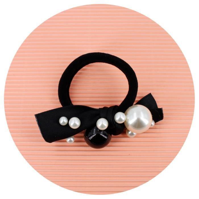 Elastique cheveux ou bracelet noir avec noeud et perles nacrées - RC006289