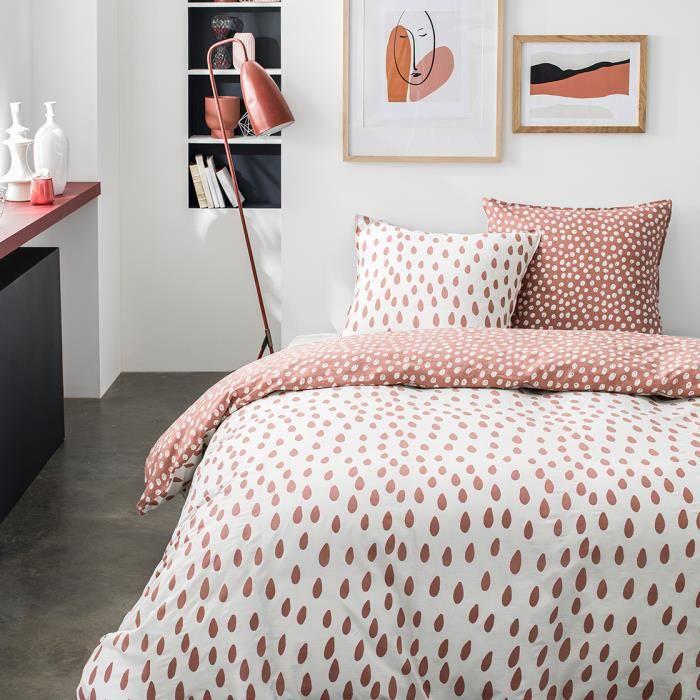 Parure de lit 2 personnes 240X260 Coton imprime blanc Graphique SUNSHINE