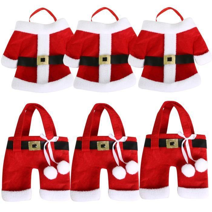 TRIXES Ensemble de 6 Porte-Couverts de Noël Originaux Costume Père Noël pour Dîner de Noël