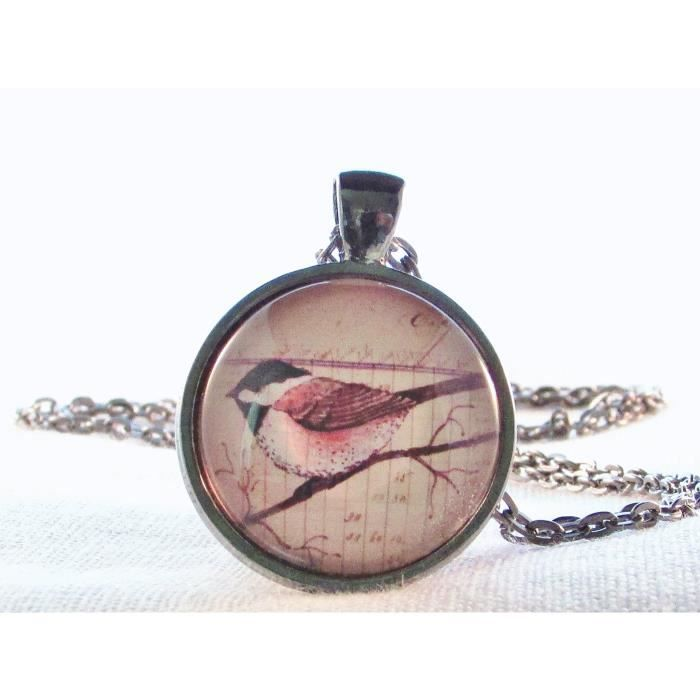Womens Bird Necklace Round Glass Pendant Chickadee Woodland Bird Pendant UXL9X