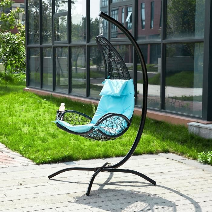fauteuil suspendu bleu balancelle de jardin et patio hamac avec support sur pied et porte. Black Bedroom Furniture Sets. Home Design Ideas