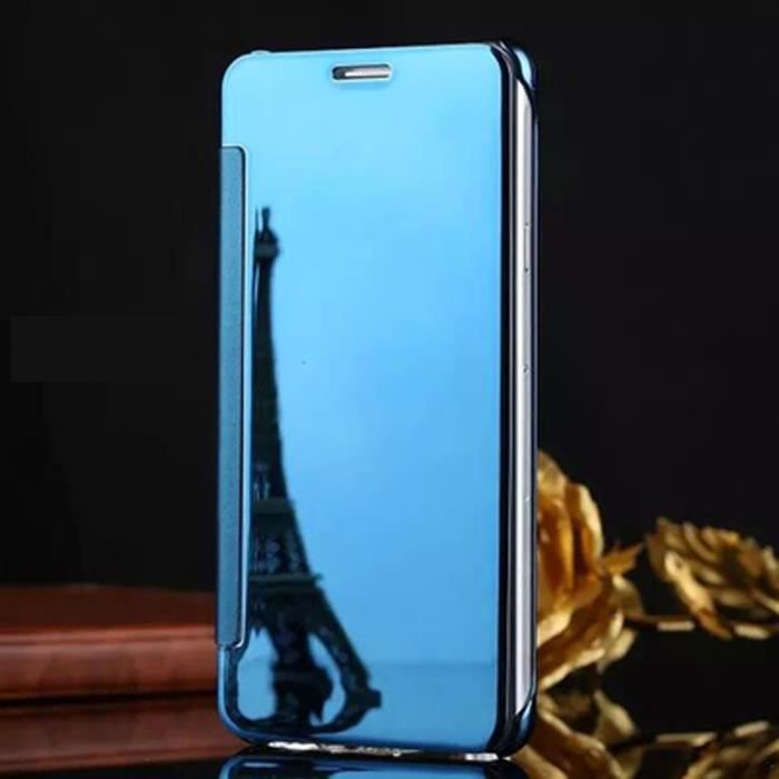 Clapet tui iphone se bleu azur motif placage translucide for Miroir intelligent