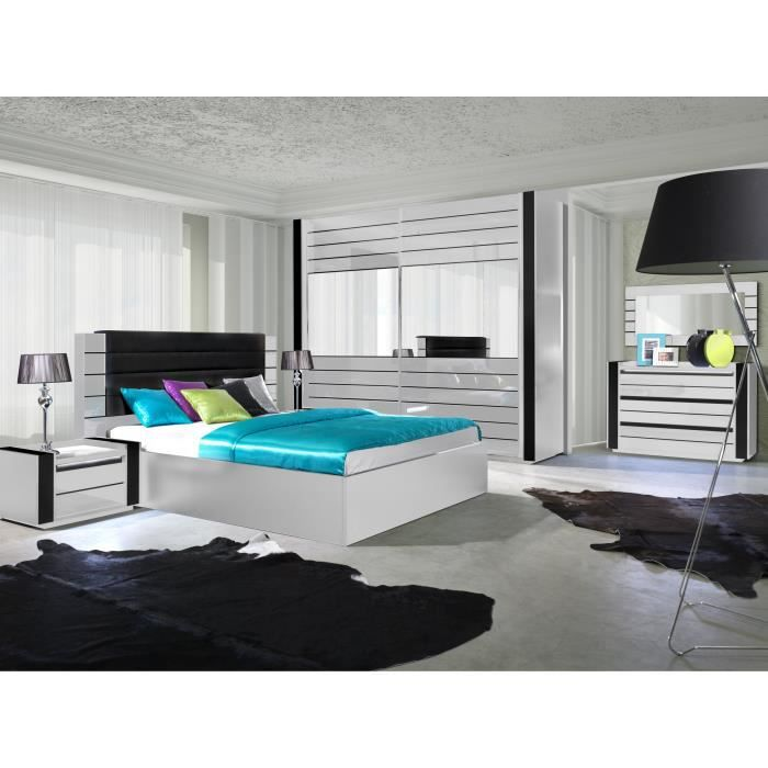 chambre coucher compl te lina blanche et noire laqu e. Black Bedroom Furniture Sets. Home Design Ideas