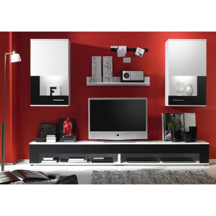 ensemble tv meuble bas 250 cm blanc et noir achat. Black Bedroom Furniture Sets. Home Design Ideas