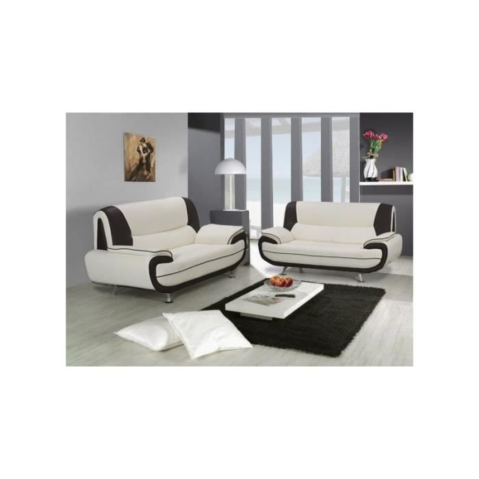 Ensemble canap 3 2 places blanc et noir design achat for Canape noir design