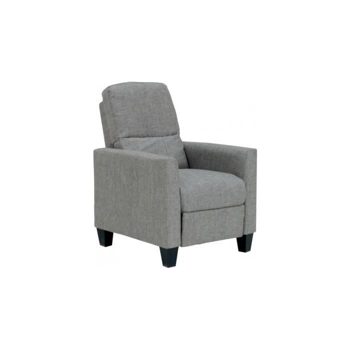 Fauteuil relaxation tissu gris repose pieds int gr achat vente fauteuil - Fauteuil relaxation tissu ...
