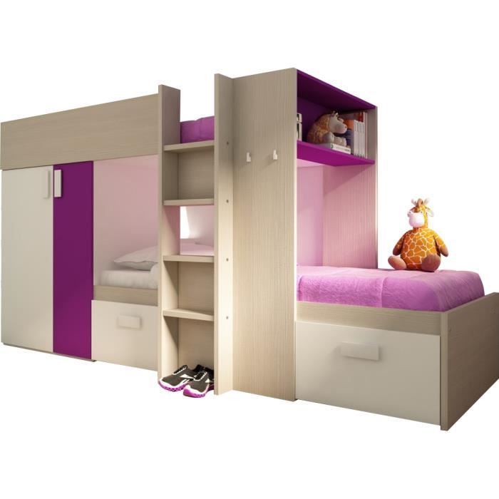 lit superpos enfant ultra moderne 90x200 coloris bois blanc et fuchsia achat vente lit. Black Bedroom Furniture Sets. Home Design Ideas