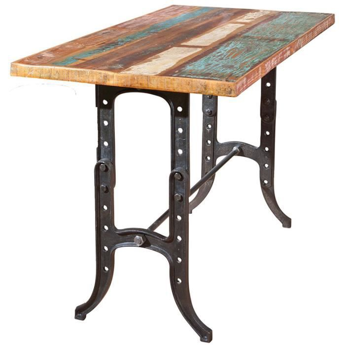 Table bar en bois recycl multicolore dim 180 x 90 x 75 for Table bar en bois