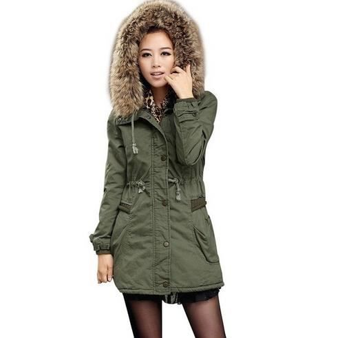manteau femme parka hiver fourrure avec capuche vert arme achat vente manteau caban. Black Bedroom Furniture Sets. Home Design Ideas
