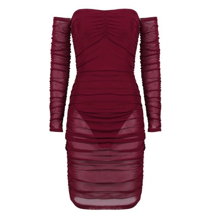 Mini Robe Sexy Femme Soiree Courte Maille Clubwear Manches S Xl Bordeaux Transparente Longues Tenue 8Nkn0wPXO