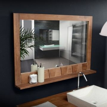 miroir en bois de teck massif 100x70 d coration achat. Black Bedroom Furniture Sets. Home Design Ideas