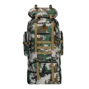 90 L Grande Randonnée Extérieur Camping Sac à dos sport sac armature interne Camouflage Bleu Rouge