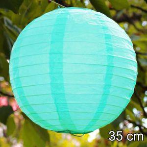 Déco de fête murale lanterne boule papier menthe - vert pastel - 35 cm