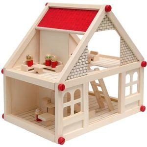 MAISON POUPÉE Maison des Poupées 40x29x38cm + Mobilier + 4 Perso
