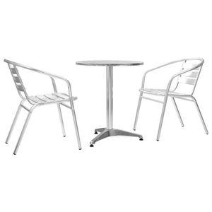 Salon de jardin aluminium table ronde
