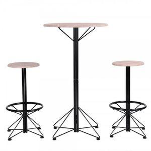 TABOURET DE BAR Ensemble table bar et 2 tabourets style industriel