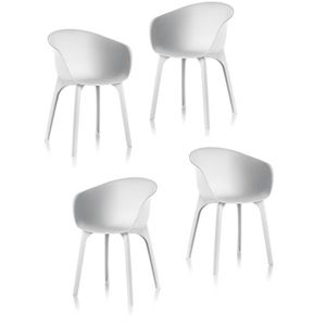 FAUTEUIL JARDIN  IDEA Lot de 4 chaises de jardin - Diva - Blanche
