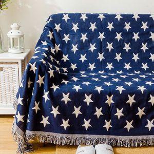 COUVERTURE - PLAID Plaid des étoiles au fond de bleu Couverture coton