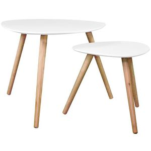 TABLE BASSE Table basse Wald blanche (lot de 2)