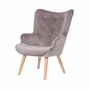 FAUTEUIL Helsinki fauteuil en velours avec pieds en bois Ta