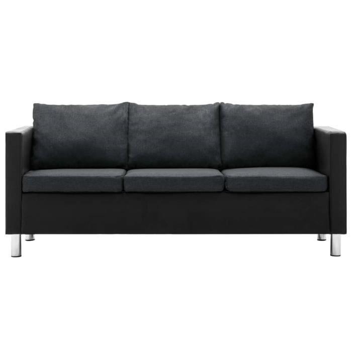 PET Canapé à 170 x 61 x 62 cm 3 places Simili-cuir cadre en bois avec rembourrage en mousse souple Noir et gris foncé