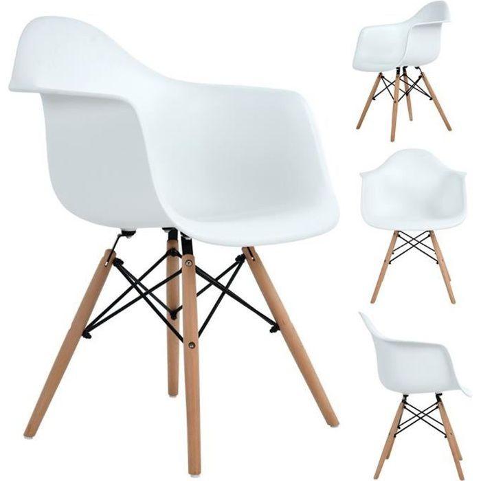 Lot de 4 Chaises de Salle à Manger avec Fauteuil design scandinave-Blanches