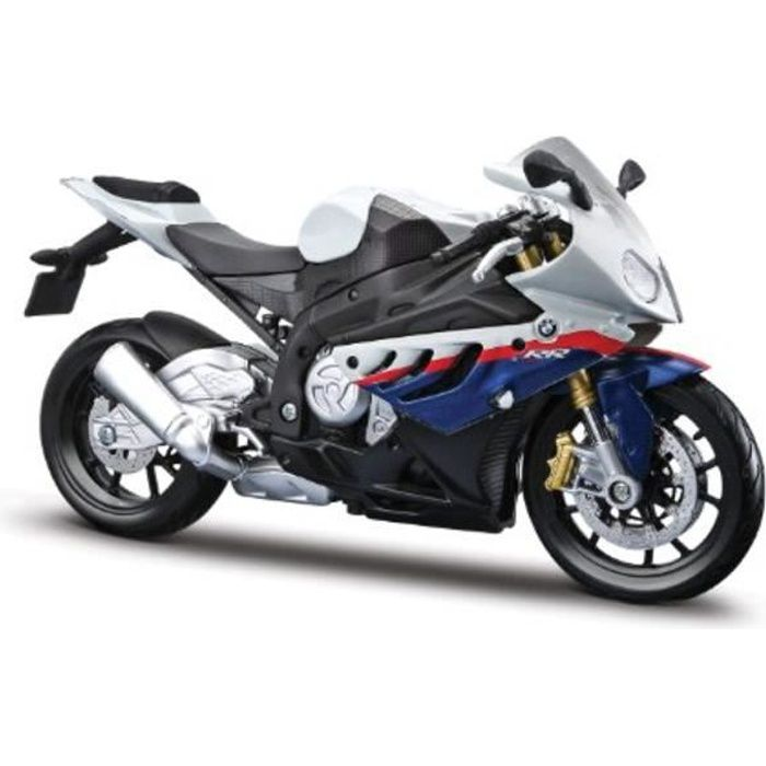 Voiture Electrique AOXE6 1-12 BMW S1000Rr Motorcycle, White-Red-Blue Multi
