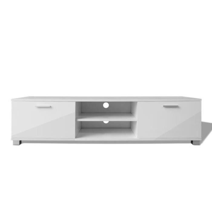 KAI Meuble TV à haute brillance blanc 140 x 40,3 x 34,7 cm
