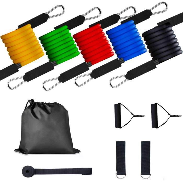 Yangbaga 11pcs-Bandes Fitness Elastiques Kit avec Crochet de Porte et Sangle de Cheville pour l'entraînement