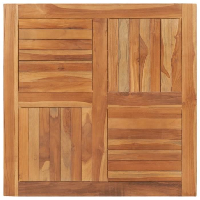 Dessus de table Bois de teck solide Carré 90x90x2,5 cm