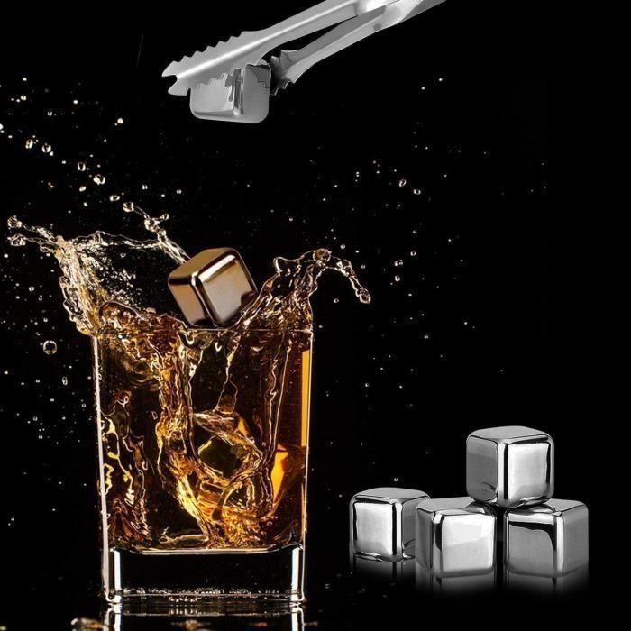 Glaçons Pièrre à Whisky Ice Cube en Acier Inoxydable 304 Réutilisable pour Bière Vin Boisson