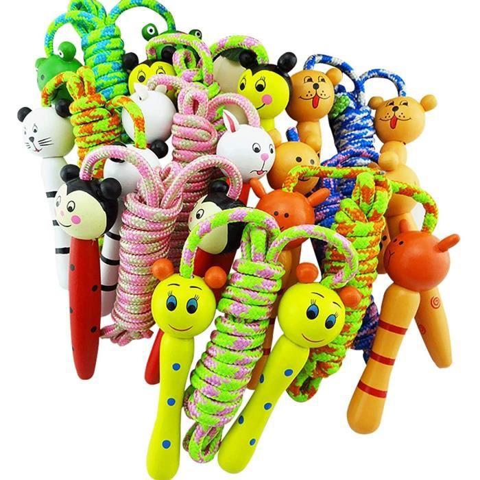 Corde &Agrave Sauter pour Enfants avec Poign&eacutee en Bois, Petite Corde &Agrave Sauter pour Enfants, 5 Pi&egraveces pour G594