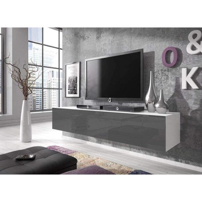 E-com - Meuble TV Bas Rocco - 160 cm - Blanc-Gris277
