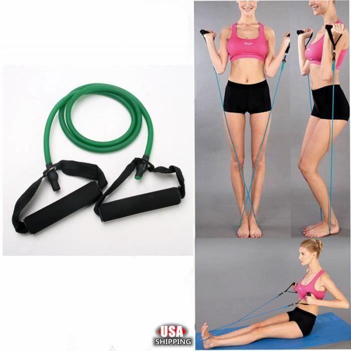 Élastique de résistance câble force fitness musculation 1.4M en latex de caoutchouc Vert FR73916