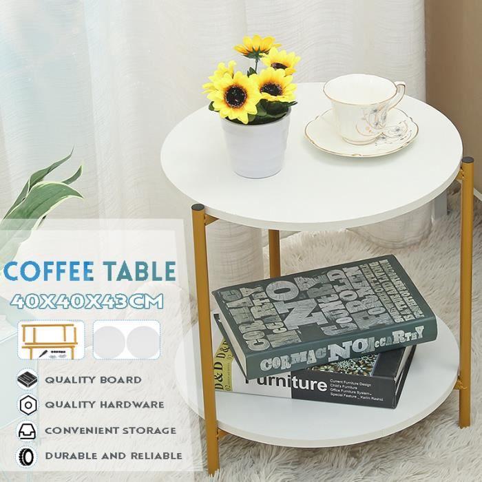 Table Basse Ronde Cadre Métallique Durable pour Salon Chambre Blanc 40x40x43cm