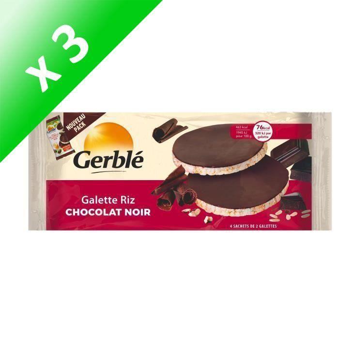 [LOT DE 3] GERBLE Galette de riz au chocolat noir source de magnésium - 130,4 g