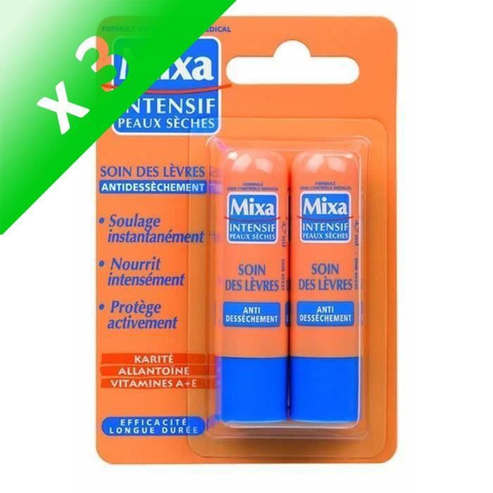 Lot De 3 - MIXA Intensif Peaux Sèches - Soin des Lèvres Réparateur - Lot de 2 x 4,7 ml