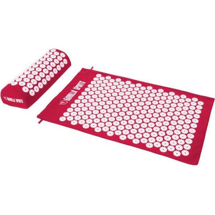 Tapis d'acupression avec coussin et sac de transport - tapis de fakir - tapis de massage - 68 x 42 x 2,5 cm - Couleur : rouge