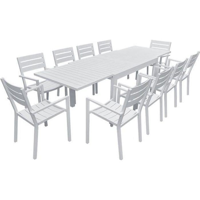 Salon de jardin VENEZIA extensible 132/264 en aluminium blanc - 10 places Blanc