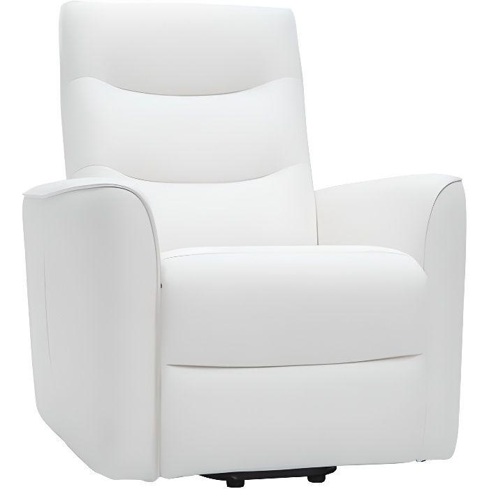 Miliboo - Fauteuil relax releveur électrique blanc THESA