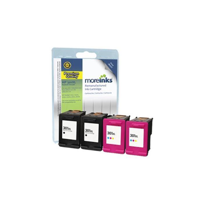4 Moreinks Cartouches d'encre d'imprimante remplace HP 301XL pour HP Envy 4500 e-AiO Cyan - Magenta - Jaune - Noir