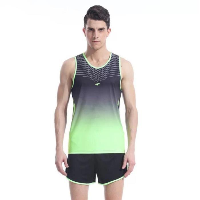 INSFITY Ensemble Maillot et Short Homme Athlétisme Running Vetement de Sport Séchage Rapide Respirant