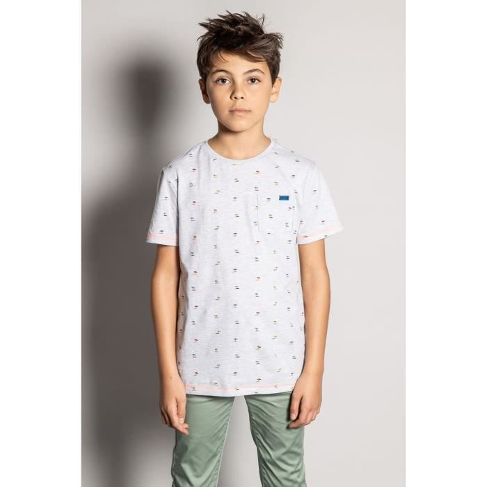DEELUXE T-shirt imprimé palmier SUNSHADE Light Grey Mel