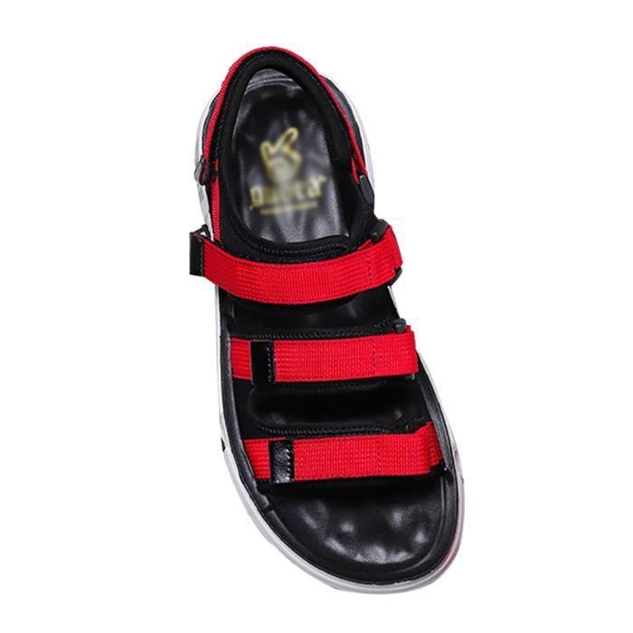 Sandales de Marche Ajustables en Velcro,Sandales Bout Ouvert pour Hommes et Femmes Sport Fisherman Randonnée Rouge 36 EU