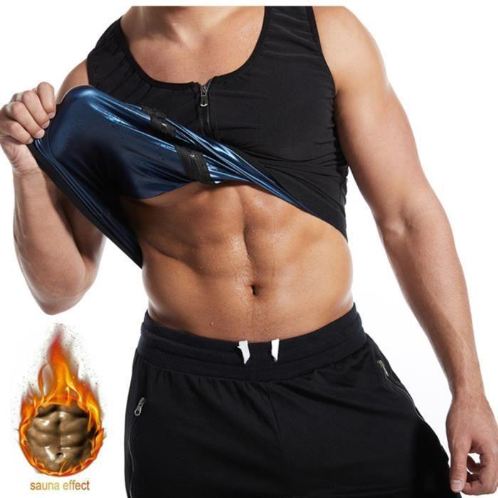 Gilet Sauna pour Homme Débardeur Amincissant sans Manches en Néoprène Gilet de Sudation Sweat Minceur Gilet Fitness Corset - Noir