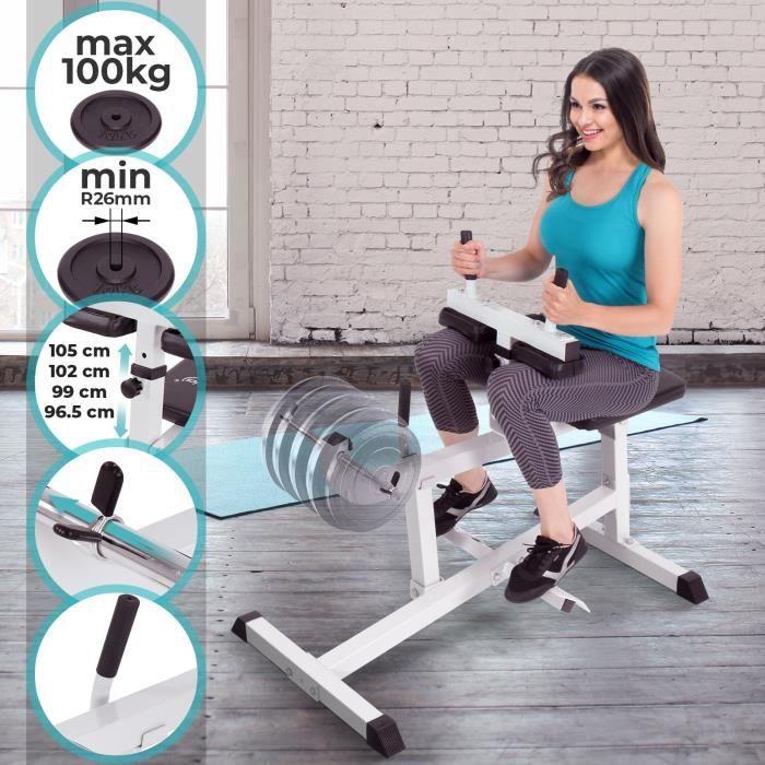 Physionics® Machine à Mollets - Assis, Max.220kg, Réglable (4 Positions), Cadre en Acier - Presse à Mollets, Appareil de Musculation