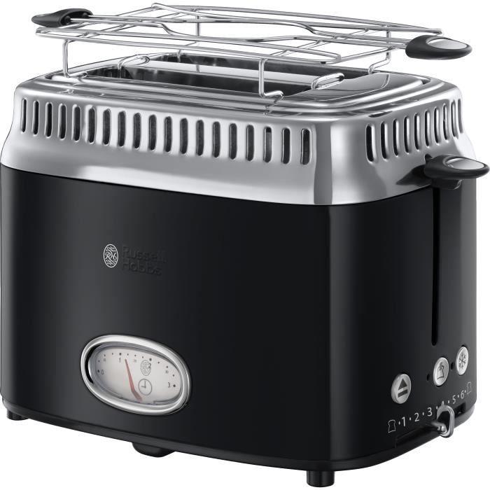 RUSSELL HOBBS 21681-56 Toaster Grille-Pain Rétro Vintage Température Ajustable Rapide Chauffe Viennoiseries Inclus - Noir