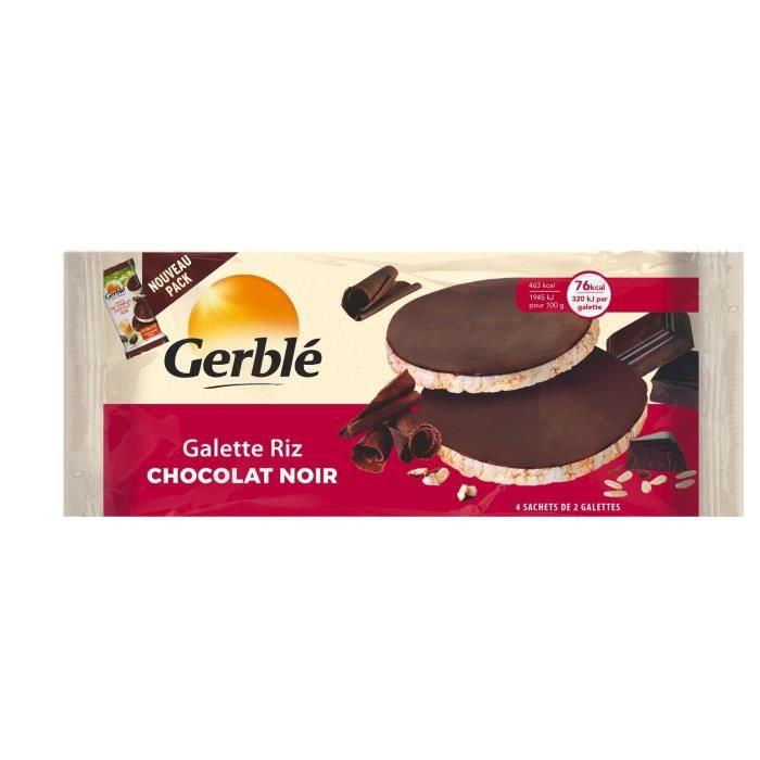 GERBLE Galette de riz au chocolat noir source de magnésium - 130,4 g